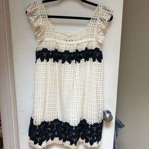 White and navy eyelet babydoll Zara dress